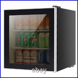1.6 Cu Ft Beverage Cooler Mini Fridge Stainless Steel Glass Door LED light Beer