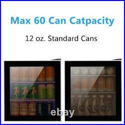1.6 Cu Ft Free Standing Beverage Cooler Mini Fridge Stainless Steel Glass Door