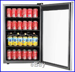 110 Can LED Lighting Beverage Center Cooler Small Fridge Refrigerator Glass Door