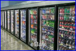12 door (glass doors with metal shelving) walk in cooler with refrigeration