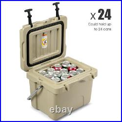 16 Quart Cooler Portable Ice Chest Leak-Proof 24 Cans Ice Box for Camping Khaki