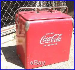 1950'S LARGE VINTAGE METAL ACTON COCA COLA COKE PICNIC COOLER WithOPENER & TRAY