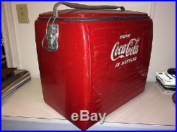 1950's Coca Cola Cooler with Tray Acton 201 Metal Coke Original Antique Vintage