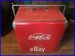 1950's Drink Coke Coca-Cola Red Metal Cooler Acton Mfg Co Arkansas City KS USA