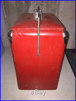 1950's Drink Coke Coca-Cola Red Metal Cooler Temprite Mfg Co Arkansas City KS
