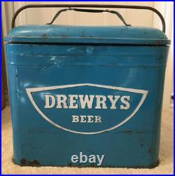 1950s Drewrys Beer Blue Metal Cooler