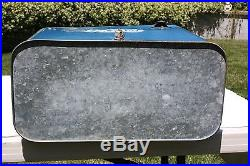 1950s Vintage Pepsi Cooler Blue Metal with White Lettering Collectible