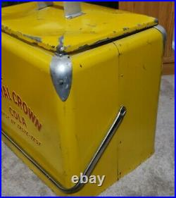 1950s Yellow Royal Crown RC Cola Advertising Metal Cooler with Removable Tray