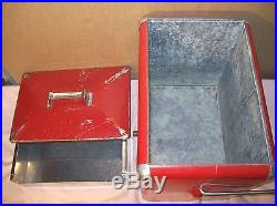 1950sCOCA-COLA ADVERTISING METAL PICNIC COOLERICE CHEST withTRAY, OPENER, DRAIN