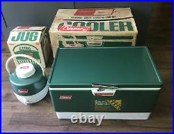 1970s Green Metal Coleman Cooler Ice Chest 44 Quart & Cooler Camping Picnic