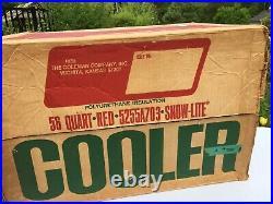 1972 Vintage RED METAL COLEMAN SNOW LITE COOLER ORIGINAL BOX - 3594