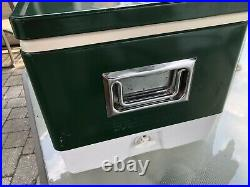 1979 VINTAGE Coleman Green Metal Cooler Camping Ice Chest 22 x 16 x 13 NICE
