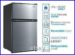 3.2 Cu Ft Mini Fridge Freezer Cooler 2-Door Compact Refrigerator Stainless Steel