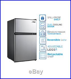3.2 Cu. Ft Mini Fridge Refrigerator Compact Cooler Portable Home 2 Door Dorm Food