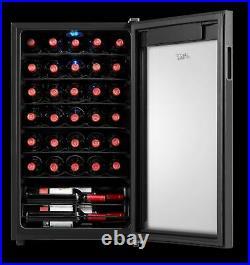 34 Bottle Wine Cooler LED Refrigerator Freestanding Fridge Chiller Cellar Rack