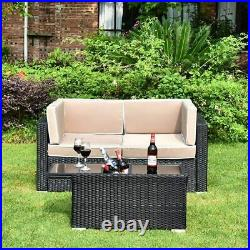 3PCS Outdoor Patio Sectional Furniture Sofa Set Rattan Wicker With Cooler Table