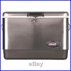 54-Quart Steel-Belted Cooler Stainless Silver Ice Chest Outdoor Leakproof Beach