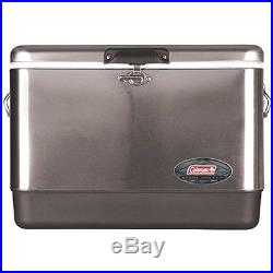 54-Quart Steel-Belted Cooler, Stainless Steel, 85 can capacity