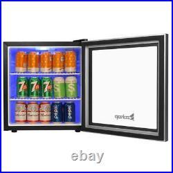 60 Can 1.6Cu Ft Beverage Cooler Mini Fridge Stainless Steel Glass Door Beer Bar