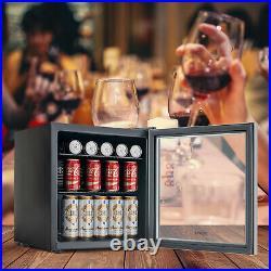 62 Can 1.6 Cu. Ft. Beverage Cooler & Refrigerator Mini Beer Fridge GlassDoor