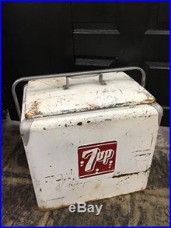 7up Metal Soda Pop Bottle Cooler Picnic Ice Chest Sign Vintage Sign Machine