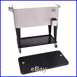 80 Quart Patio Cooler Rolling Outdoor Stainless Steel Ice Beverage Chest New