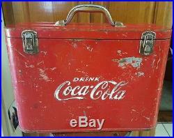 ANTIQUE Vintage 1950s Red Embossed Metal Coke Soda Coca Cola Airline Cooler