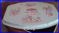 Antique 1950's Thermos Oval Picnic Cooler Red Plaid Tartan Metal Faux Stitch