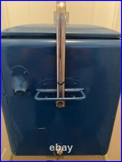 Antique 1950s Drink Pepsi Cola Metal Cooler With Tray Original Not Restored