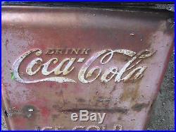 Antique Coca Cola Soda Cooler Steel Metal Panel Embossed Art Sign Not Porcelain