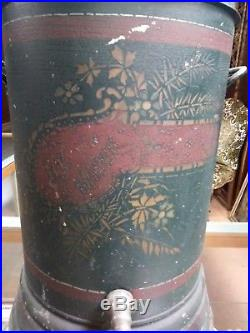 Antique Metal Tole Stenciled Painted Water Cooler Coffee Dispenser