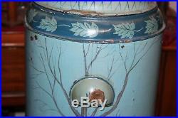 Antique Metal Water Cooler Dispenser Painted Farm Barn Winter Scene Sleds Dog