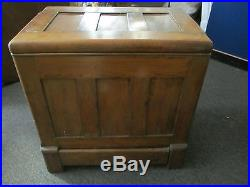Antique Oak Ice Box Chest Style with Lid on Top Metal Interior Painted White