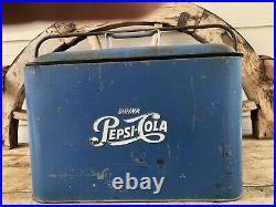 Antique Pepsi Cola Metal Cooler picnic Beach
