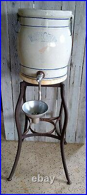 Antique Primitive School House Red Wing Stoneware Water Cooler Bubbler on Stand