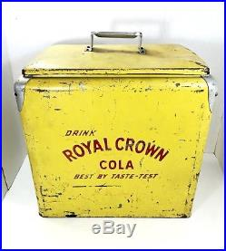 Antique Royal Crown RC Cola Yellow Metal Cooler with Lid, Soda Pop Collectible