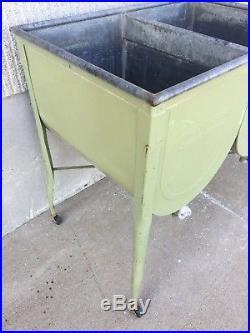 Antique Vintage Dixie Wash Tub Stand Double Cooler Chest