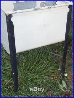 Antique Vintage Ideal Wash Tub Stand Double Cooler Chest