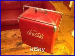 Antique / Vintage Red Metal Embossed Coca Cola Cooler, Coke Collector