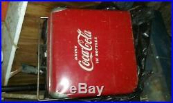 Best-vintage 1950's Drink Coca Cola Bottles Coke Metal Cooler Progress Refrg Co