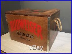 Budweiser Anheuser Busch Wooden & Metal Beer Cooler 18x14x12 New Rare