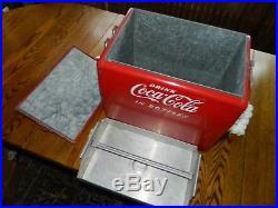 COCA-COLA MAN CAVE ANTIQUE SODA VINTAGE METAL Cooler Rare COKE New years Pop