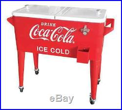 Coca Cola Metal Cooler Ice Chest, 80-qt Vintage Retro Style, Rolling