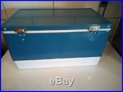 COLEMAN Blue Metal Cooler with Bottle Opener (1978)