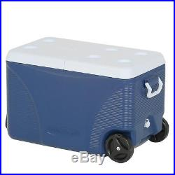 Camping Cooler Wheels Chest Outdoor Cup Holder Box Picnic Ice Hiking Food