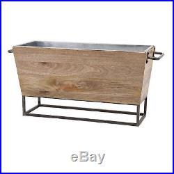 Carmen Beverage Tub Party Drink Metal Wood Bucket Wine Cooler Ice Bucket Oval