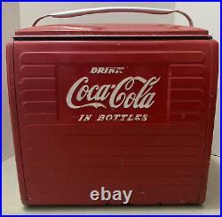 Coca Cola Antique Vintage Red Metal Cooler Drink Coca Cola in Bottles