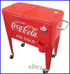 Coca-Cola Beverage Soda Cooler 60 Qt. Ice Cold Retro Red Metal Rolling Wheels
