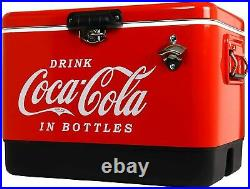 Coca-Cola Metal Ice Chest 54 Quart Red Stainless Steel Cooler Free Shipping