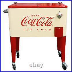 Coca-Cola Retro Cream/Red 60 qt Rolling Cooler Ice Chest Officially Licensed New